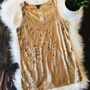 ANN TAYLOR Pima Cotton Gold Sequin Tank Top S NEW